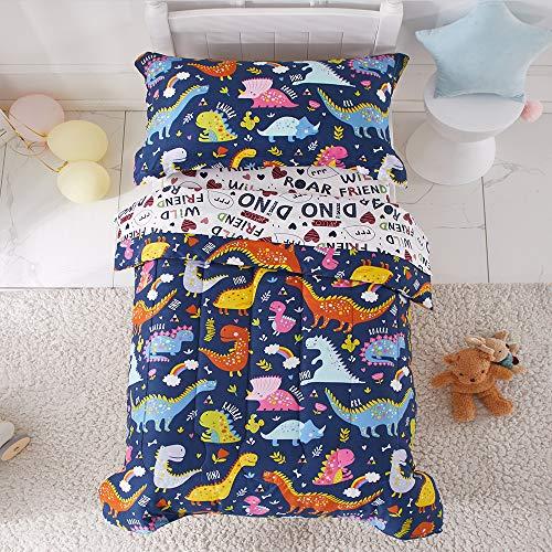 Colorful Dinosaur 4 Piece Toddler Bedding Set