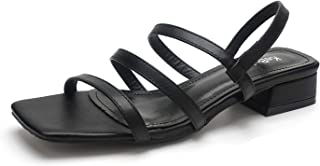 Womens Slide On Sandals Low Block Heels Elastic Strap Square Toe Shoes