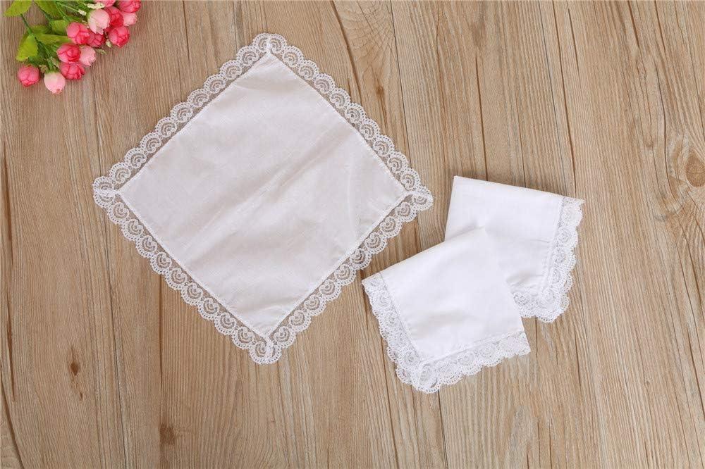 Cntqiang 6Pcs Ladies Pure White Lace Cotton Handkerchief Wedding Hanky Gifts DIY Print Draw Hankies