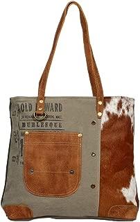 Myra Bag Leather Pocket Upcycled Canvas Tote Bag S-1236