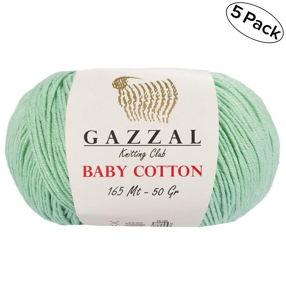 gazzal bebé algodón 1.76 oz (50g)/246 yrds (225 m) suave, Super Fine Baby ovillo de lana, 60% algodón: Amazon.es: Juguetes y juegos