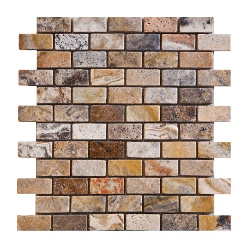 1x2 Scabos Honed And Unfilled Travertine Brick Mosaic Tile 6 X 6