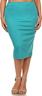Women's Casual Knee Length High Waist Solid Pencil Skirt/Made in USA