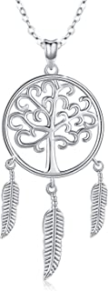 Tree of Life Necklace, Dream Catcher Pendant Necklace S925 Sterling Silver Native American Jewelry Gifts for Women Teen