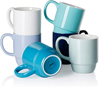 Sweese 605.003 Porcelain Stackable Mug Set - 16 Ounce for Coffee, Tea, Cocoa and Mulled Drinks - Set of 6, Cool Assorted C...