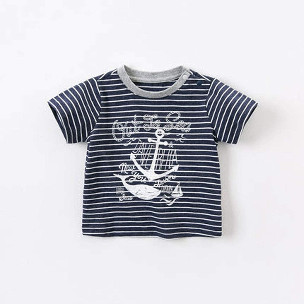 Boys T-Shirt Kid's Short-Sleeved Baby Tops New Summer Clothing Kid's Clothing Cotton and Cotton Stripes Trend Blue and White Stripes Navy Style Cartoon Print Soft (Color : A, Size : 73cm)