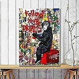 Street Graffiti Art Quadri su tela Segui i tuoi sogni Scimmia Poster e stampe Quadri astratti per la decorazione della stanza Cornice interna 60x85 cm