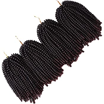 4 Pack Spring Twist Braids Ombre Colors Crochet Braids Synthetic Braiding Hair Extensions Low Temperature Fiber 8inch 100g (8 INCH, T1B/33)