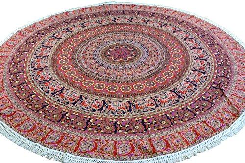 Guru-Shop Rundes Indisches Mandala Tuch, Tagesdecke, Picknickdecke, Stranddecke, Runde Tischdecke - Rot, Baumwolle, Bettüberwurf, Sofa Überwurf
