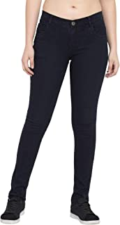 American-Elm Women's Black Solid Slim Fit Stretchable Jeans