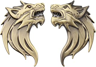 TK-KLZ 2Pcs/Pair 3D Metal Wolf Head Car Side Fender Rear Trunk Emblem Badge Sticker Decals for JEEP Dodge Mercedes BMW Mustang Volvo Chevrolet Nissan Audi VW Ford Honda Toyota Jaguar (Wolf Gold)