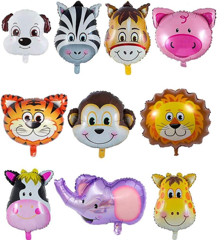 QIMMU 10 Piezas Helio Para Globos Animales De La Selva Globos Helio Globos Cumpleaños Decoración de la Fiesta de Cumpleaños de los Niños
