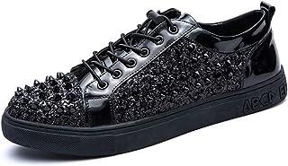 oroT1 Zapatos británicos de Ocio para Hombres Cuero de la PU Moda Casual Ligero Mocasines con Plataforma Elástico Remache Decoración Antideslizante Punta rojoonda con Cordones Punta Abierta y Tobillo