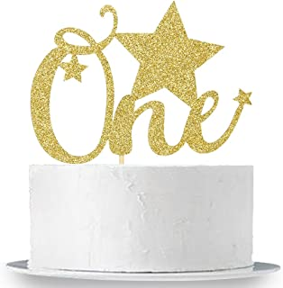 Gold Glitter One Birthday Cake Topper - Baby's First Birthday Party Decorations - 1st Birthday Cake Topper - Baby Shower Photo Props