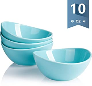 Sweese 101.102 Porcelain Bowls - 10 Ounce for Ice Cream Dessert, Small Side Dishes - Set of 4, Turquoise