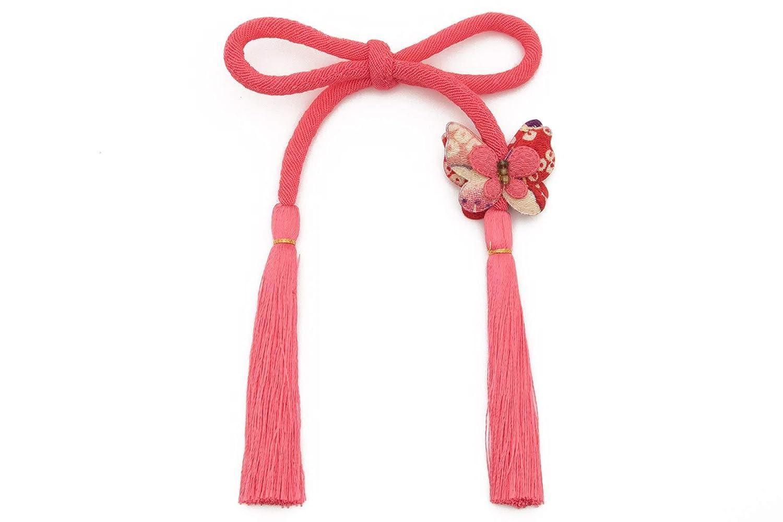 (ソウビエン) 髪飾り ピンク 丸ぐけ 無地 シンプル 蝶 組紐 縮緬 ちょい足し 飾り紐 七五三 成人式 ヘアアクセサリー
