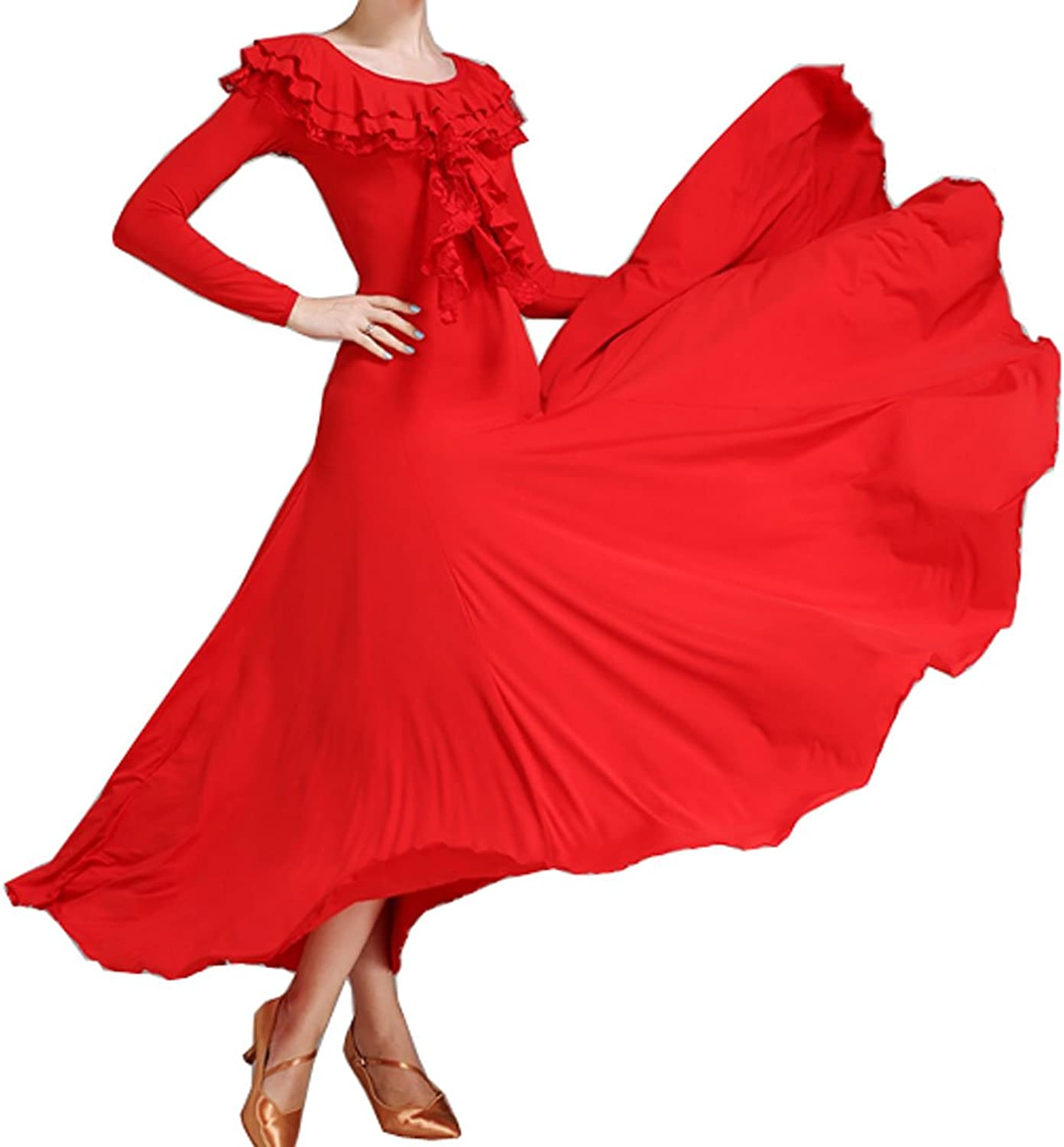 Multilayer Lotus Collar Ballroom Dress Modern Skirt Waltz Dress Cha Cha Dress Tango Dress