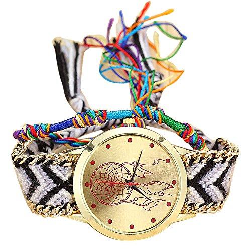 Yivise Mujeres Estilo Nacional Reloj Hecho A Mano Retro Analógico de Cuarzo Indicador Simple Pantalla Colorida Pulsera Brazalete Regalos de Amistad Reloj de Pulsera(C)