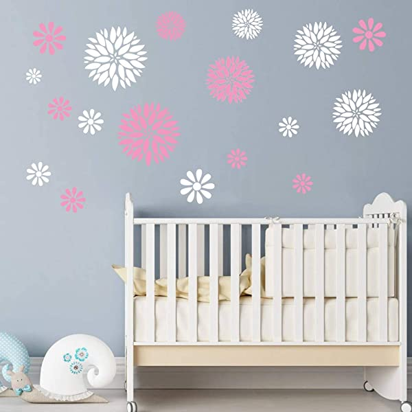Art Home Decor Nursery Room Sticker Beauty Flowers Decoration Stickers For Girls Bedroom Removable Wall Sticker White Pink