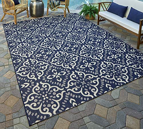 Gertmenian 21565 Nautical Tropical Carpet Outdoor Patio Rug, 5x7 Standard, Navy Blue Floral Medallion