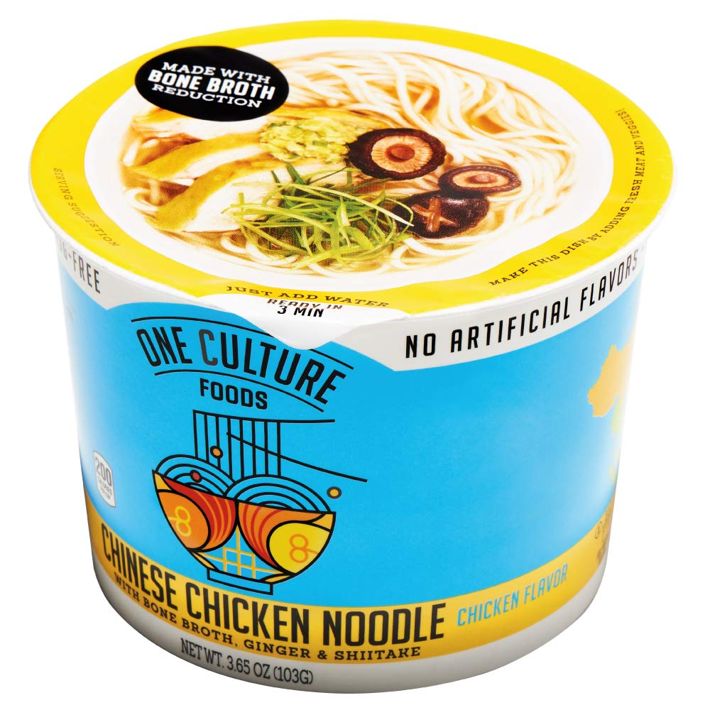 One Culture Foods Bone Broth Instant Cup Noodles, Chinese Chicken Noodle - Natural - Non-GMO (Pack of 8)