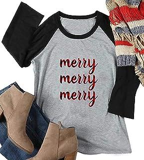 HRIUYI Christmas Plaid Leopard T-Shirt Womens Christmas Holiday Funny 3/4 Sleeve Raglan Baseball Tops Tees Blouse