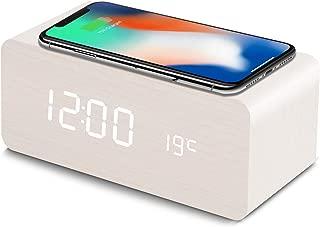 置き時計 QIワイヤレス充電機能 目覚まし時計 アラームクロック USB給電 android iphone 充電器 iPhone8以上対応 音声感知 Fomobest カレンダー付き 温度計 時間記憶 省エネ 明るさ調節 日本語説明書付き (白)