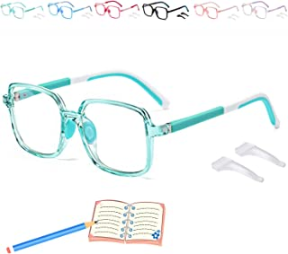 Seorsok Kids Blue Light Blocking Gl Memory Temples for Boys Girls Age 3-12 Computer Gl with Non-Slip Buckle-Green