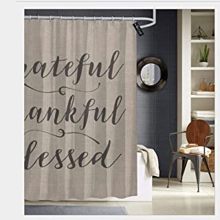 Kailiy-Design Grateful Thankful Blessed Rustic Script Damask Shower Curtains with Hooks,Bath Curtain Bathroom Curtain 72 x 72