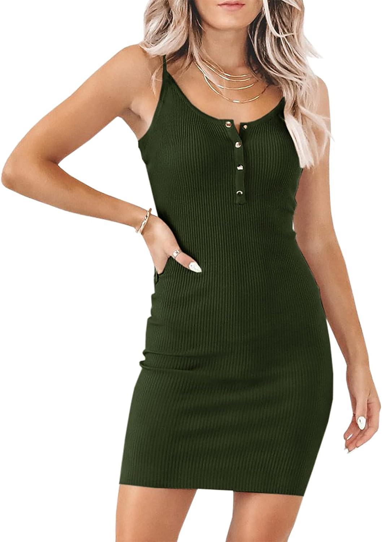 Meikulo Women Sleeveless Adjustable Spaghetti Strap Button Up Mini Dress Ribbed Cami Tank Top Slip Dress