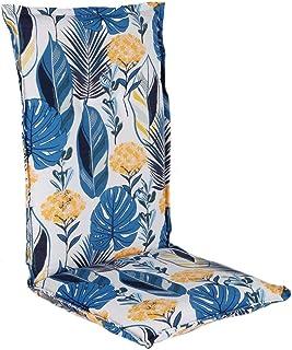 Spetebo Cojín de fácil cuidado para respaldo alto – Azul – Cojín para silla de jardín con correa – Cojín para silla (Modelo 7)