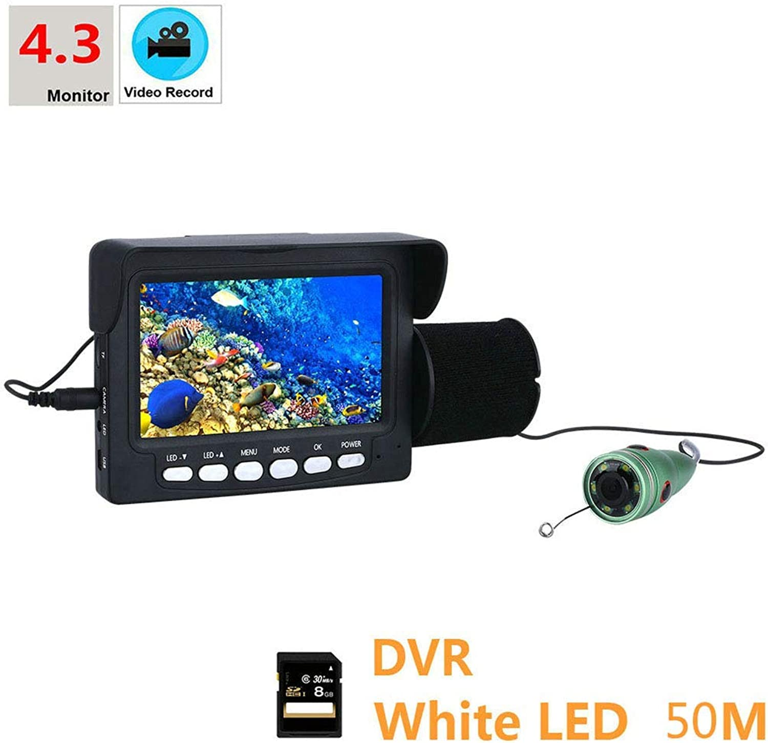 Fish finder DVR-Rekorder mit Sensor,4.3 Inch 1000tvl Unterwasserfischerei HD Video Camera Kit mit 8G TF-Karte, 6 PCS Weiß Light LED EIS, See,50