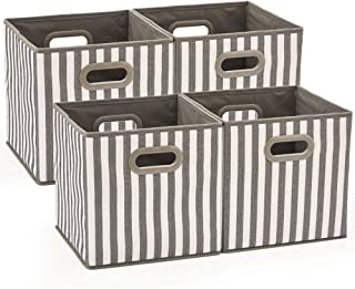 Set of 4 EZOWare Foldable Fabric Storage Bin with Handles, Collapsible Resistant Cube Basket Box Organizer for Shelves, Closet, and More - (10.5x10.5x10.5 inch) (Gray & White Stripes)