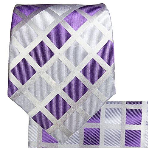 Cravate homme à carreaux violet ensemble de cravate 3 Pièces (longueur 165cm)