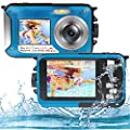 Underwater Camera Full HD 2.7K 48MP Waterproof Camera for Snorkeling Dual Screen Waterproof Camera Digital with Self-Timer and 16X Digital Zoom by S & P Safe and Perfect