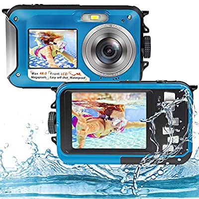 Underwater Camera Full HD 2.7K 48MP Waterproof Camera for Snorkeling Dual Screen Waterproof Camera Digital with Self-Timer and 16X Digital Zoom from S & P Safe and Perfect