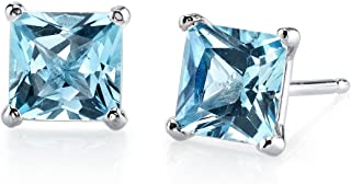 14 Karat White Gold Princess Cut 2.50 Carats Swiss Blue Topaz Stud Earrings