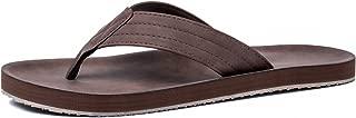 Viihahn Men's Flip Flops Leather Sandals Arch Support Summer Beach Slippers Brown Size: 10