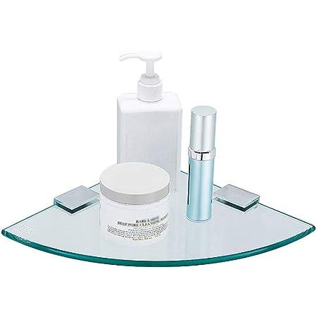 浴室用ラック 肥厚透明ガラス コーナーラック 壁掛け シャワーラック 掘削インストール ための 浴室、キッチン、ベッドルーム、バルコニー収納 ラック、18cm LINLIN (Size : 18x18cm)