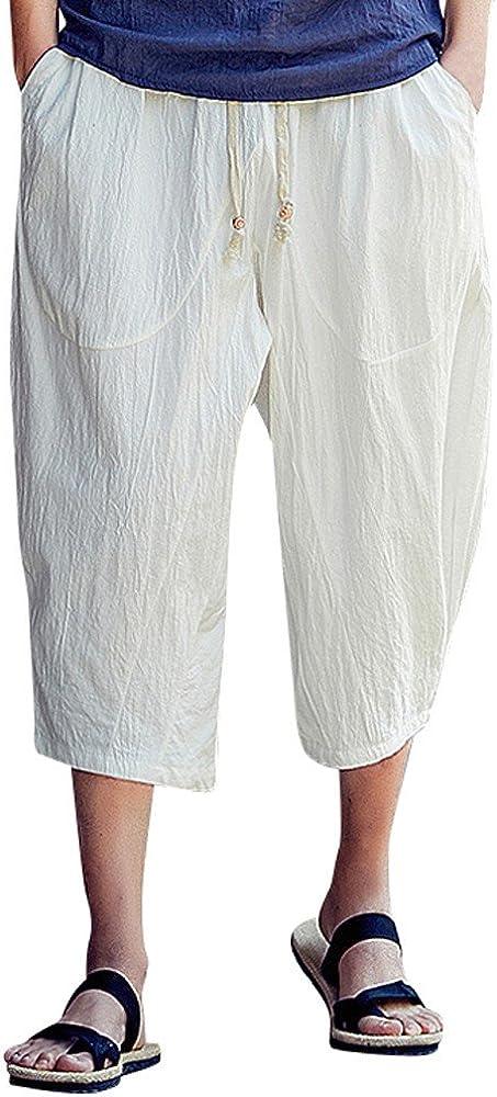 Mens Casual Baggy Cotton Linen Pocket Lounge Harem Pants Beach Long Shorts Beach Trousers Linen Summer Pants
