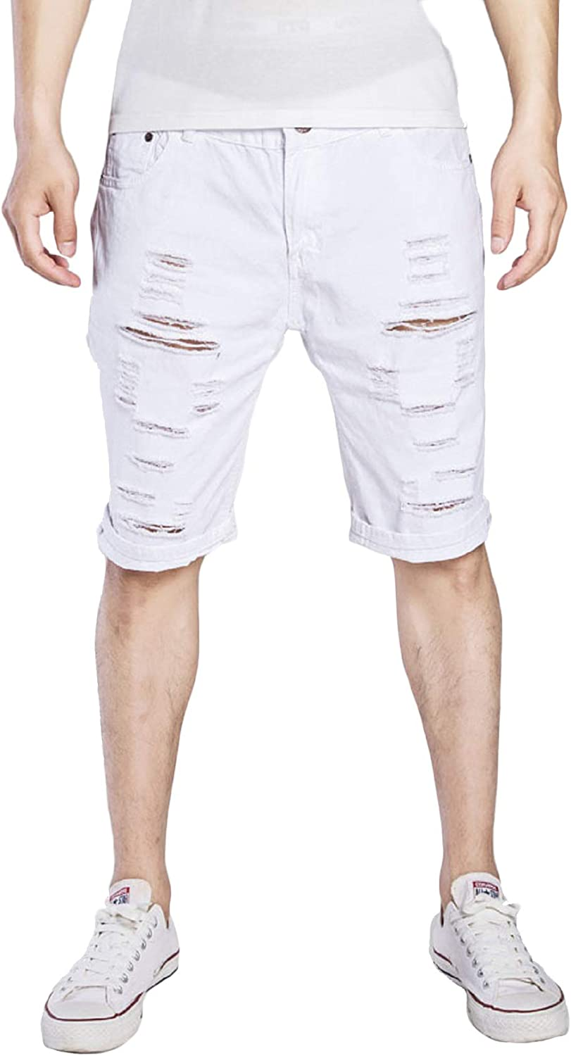 CHARTOU Men's Classic Fit Mid-Rise Distressed Ripped Knee-Length Washed Denim Shorts
