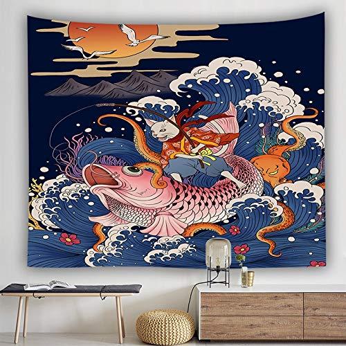 KHKJ Manta Japonesa Tapiz Ballena Arowana dragón Phoenix tótem Colgante de Pared Cama Bohemia Blaanket Tapiz de decoración del hogar A10 150x130cm