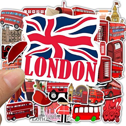 WYZN 50 piezas de dibujos animados rojo británico Big Ben etiqueta engomada del autobús buzón personalidad creativa DIY decoración portátil impermeable vinilo skate graffiti moda etiqueta para niños