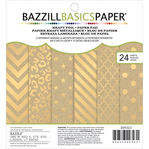 6 x 6-inch Kraft with Gold Foil Paper Pad by Bazzill Premium Paper   Includes 24 6 x 6-inch double-sided sheets in 6 different designs
