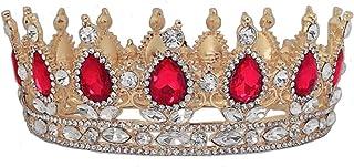 KINTRADE Fondo Oro Cristallo Vintage Regina Reale re diademi e corone Uomini/Donne Spettacolo diadema Ornamenti per Capell...