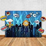 Glittery Garden Superhero Cityscape Photography Backdrop and Studio Props DIY Kit. Great as Super Hero City Photo Booth Background – Birthday Party and Event Decoration