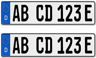 2 Stück EU KFZ Nummernschilder E Kennzeichen für Elektroauto & Plug in Hybride mit individueller Prägung nach Ihren Vorgaben + KFZ Schein Schutzhülle