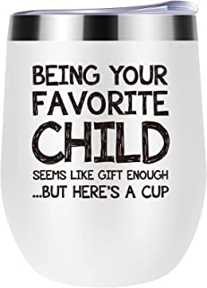 Being Your Favorite Child Wine Tumbler Best Mom & Dad Gifts for Mom Dad Birthday Gifts for Mom Dad from Daughter Son Novel...