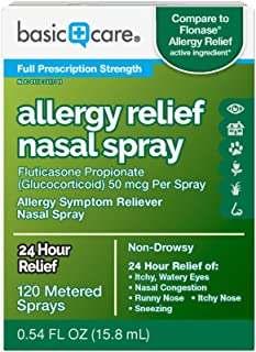 Amazon Basic Care Allergy Relief Nasal Spray, Fluticasone Propionate (Glucocorticoid), 50 mcg Per Spray, 0.54 Fl Oz