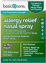 Basic Care Allergy Relief Nasal Spray, Fluticasone Propionate (Glucocorticoid) 50 mcg Per Spray, 120 Metered Sprays 0.54 FL OZ